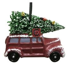 "SOUTH CAROLINA GAMECOCKS CAR VAN W/ CHRISTMAS TREE RESIN ORNAMENT 3.5"""