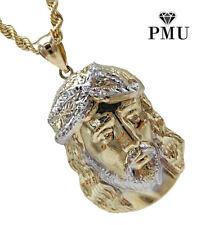 Jesus Piece 10k Yellow Gold Pendant with Rope Men's Chain Set Fine Jewelry