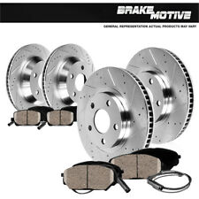 Front+Rear Drill Slot Brake Rotors & Ceramic Pads Audi Q7 Cayenne VW Touareg