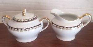 Vintage KPM - Germany - CobAlt Gold & Floral Trim Cream & Sugar Excellent