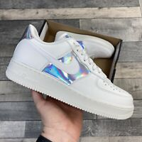 """NIKE WOMENS AIR FORCE 1 LOW AF1 TRAINERS """"IRIDESCENT WHITE"""" UK6.5 US9 EU40.5"""