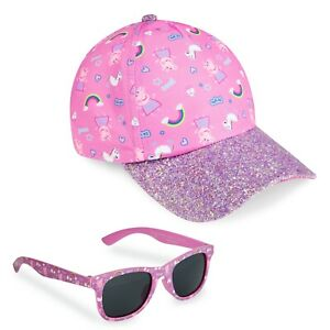 Peppa Pig Girls Summer Hat & Kids Sunglasses, Rainbow Unicorn Pink Baseball Cap
