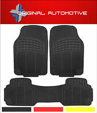 3 PIECE HEAVY DUTY BLACK CAR RUBBER FRONT AND REAR FLOOR MAT IDEAL FOR TAXIS X1