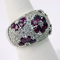 Diamond & Ruby Pavè Floral Cluster Cocktail Dome Ring 18 k Gold Size 5 3/4 A3922