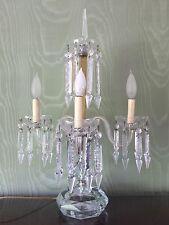 Antique Tabletop Three Light Crystal Chandelier