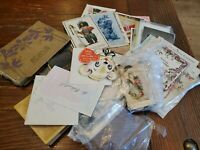 Estate Lot vintage Holiday Greeting Postcards cards stamps antique paper K