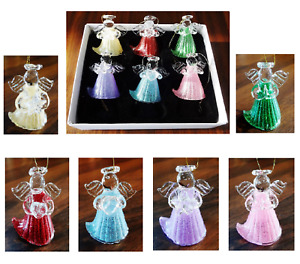 Set Of 6 Glass Angels Christmas Tree Hanging Hand Made Decorations Boxed H4.5cm