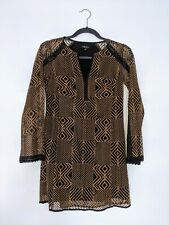 NANETTE LEPORE anthropologie lace shift dress brown black elegant bell sleeve 00