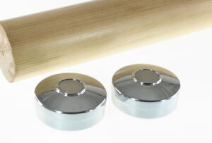 (Lot of 2) Metal Round End Cap For 44mm Staircase Bannister Timber Handrail