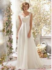 White Ivory Chiffon long Wedding Dress Bridal Gown Size 6/8/10/12//14/16 18 XRI