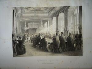 GRANDE LITHO SCENE ROI LOUIS PHILIPPE ORLEANS REINE VICTORIA ANGLETERRE 1846 F
