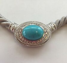 JUDITH RIPKA 925 STERLING SILVER SLIPPING BEAUTY TURQUOISE SILK CORD NECKLACE