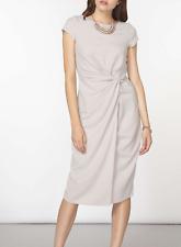 NWT Elegant Gray Ruched Crepe Dress UK size 14, US size 10
