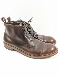 Allen Edmonds Patton Dark Brown Leather Cap Toe Ankle Boots Sz 14 D