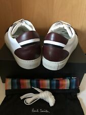 New Paul Smith Primo Trainers White Leather Burgundy & Black, UK9 EU43 RRP£325