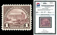 Scott 571 1923 $1.00 Lincoln Memorial Flat Plate Mint Graded XF 90 NH PSE CERT!