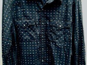 Calvin Klein Jeans Men's Western Shirt  Pearl Snaps LARGE Black