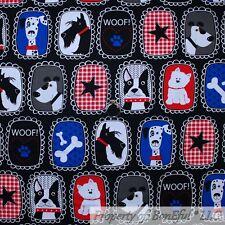BonEful FABRIC Cotton Quilt Black White B&W Red Blue Dog Gingham Stripe US SCRAP