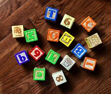 """16 WOODEN BLOCKS-ALPHABET LETTERS, WORDS, NUMBERS, PICTURES 1.5"""""""