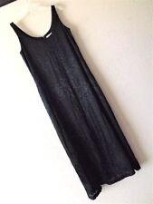 New OSCAR de la RENTA 14 LONG BLACK OVERLAY TANK DRESS Rayon Silk EVENING GOWN L