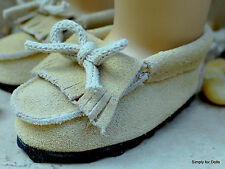 """TAN Leather MOCCASINS Doll SHOES fits 18"""" AMERICAN GIRL Doll Clothes"""