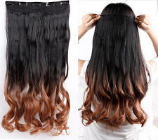 Real Human,24-26 Inch,3/4 Full Head Clip In Hair Extensions,Brown Black Blonde