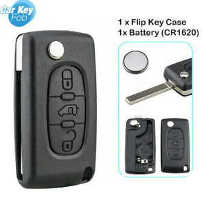 For Peugeot Partner Expert Citroen Berlingo Dispatch 3 Button Flip Key Fob Case
