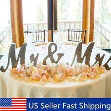 Large Mr & Mrs Shining Wedding Wooden Sign Letters Decoration Table Top Standing