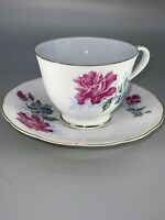 Gold Rim China Cup and Saucer Set with Pink and Yellow Flowers. Vintage China