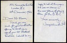 Jacqueline DU PRE (Cellist): Autograph Letter to Timothy MOORE (Composer)