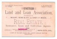 United Land and Loan Association Real Estate, Napa City, CA Trade Card