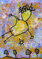 20111106 e9Art ACEO Childlike Art Painting Outsider Flying Abstract Figurative