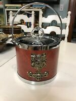 Vintage Crested Chrome and Viynl -leather Ice Bucket (Made in Japan)