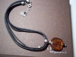 Silpada 925 Sterling Silver Amber Pendant Black Leather Necklace N1285 RETIRED