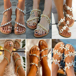 Ladies Boho Flat Sandals Women Summer Beach Toe Ring Strappy Slippers Shoes Size