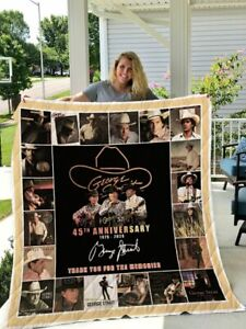 George Strait 45th Annivesary Quilt Blanket Gift Idea For Fans Decor Bedding
