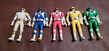 """1993 Bandai MMPR Flip Heads Power Rangers Set Of 6 Figures 5.5"""" With Weapons"""