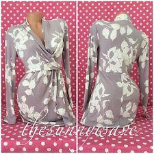 Victoria Secret Dress Long Sleeve Drape Neck Lavender Purple & White Floral Wrap