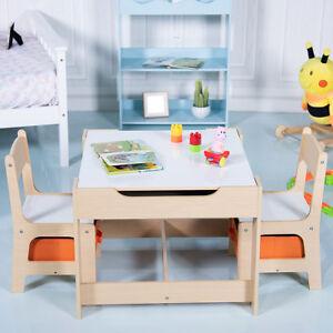3 tlg. Kindersitzgruppe Kindermöbel mit 2 Stühlen Tisch Stauraum Holz Maltisch