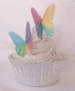 Edible Rainbow Butterfly Cake Topper 20pc Water Colour Bright Sweet Lolly Buffet