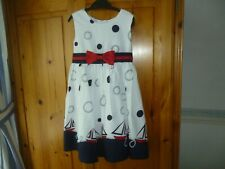 1c1f93d39b7a GIRLS JAYNE COPELAND SUMMER DRESS AGE 4 YEARS WHITE/NAVY/RED NAUTICAL  FLOUNCY