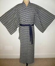 FABULOUS MEN'S VINTAGE JAPANESE YUKATA COTTON, KIMONO ROBE DRESSING GOWN +belt