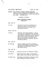 JACK KEROUAC LOWELL CELEBRATES KEROUAC PRESS RELEASE SCHEDULE 1988 KEROUAC  PARK