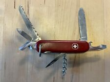 Vintage Wenger Swiss Army Knife Trailblazer Dog Leg Can Opener Bail Red Delemont
