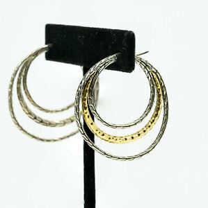 Preowned JOHN HARDY Sterling 18K yellow gold Loop Earrings (18399)