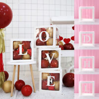Letter A-Z Cube Transparent Gift Balloon Boxes Baby Shower Birthday Party Decor
