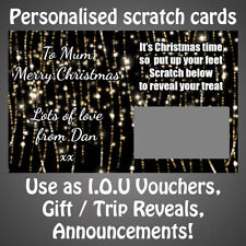 *1 Personalised CHRISTMAS LIGHTS IOU Scratch Card Surprise Reveal Gift Voucher