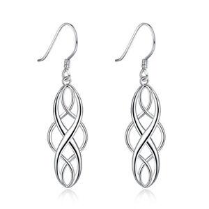 Charm 925 Silver Geometric shape Dangle Drop Earrings Women Fashion Jewelry