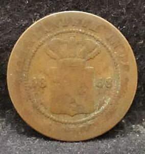 1858 Netherlands East Indies cent, colonial issue, sword privy , KM-307.1   /N59