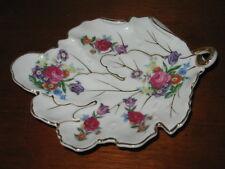Vintage Fleetwood China Leaf Shaped Dish GOLD Trimmed Floral